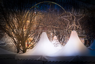 The white turreted tents at the White Magic Christmas Market