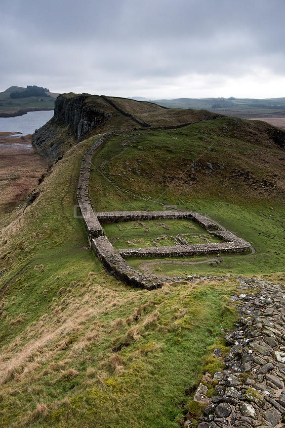 Hadrian's Wall between Steel Rigg and Housesteads on The Whin Sill, a layer of hard intrusive, volcanic Dolerite naturally fo...