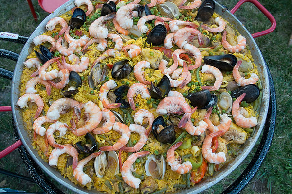 Spanish cuisine, seafood paella on a pan