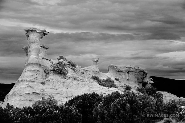 ROCK FORMATIONS HIGH ROAD TO TAOS NORTHERN NEW MEXICO BLACK AND WHITE