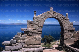 Stone arch on Taquile Island, Peru