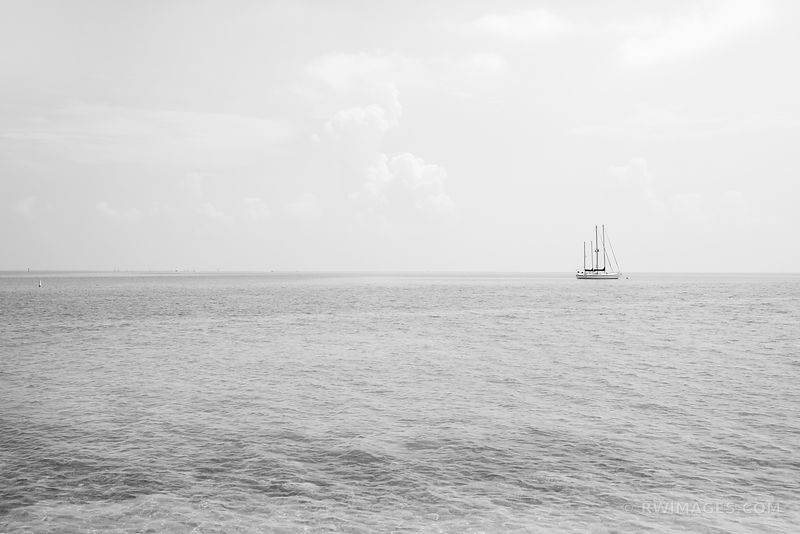 SAILBOAT UPPER MATECUMBE KEY ISLAMORADA FLORIDA KEYS BLACK AND WHITE