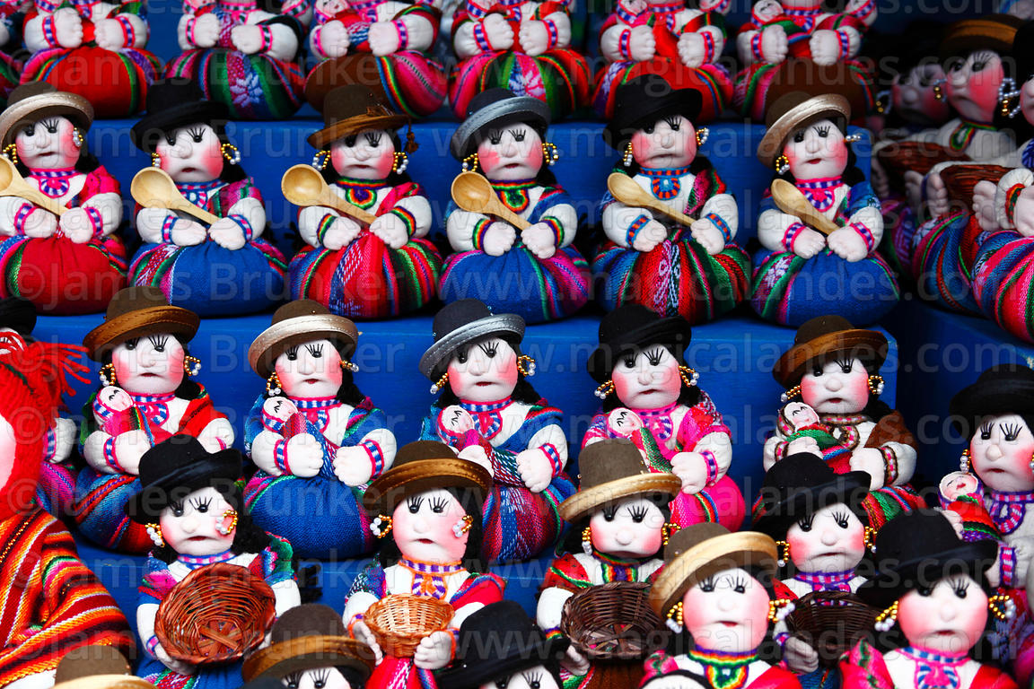 Textile cholita dolls for sale in artesan market, La Paz, Bolivia
