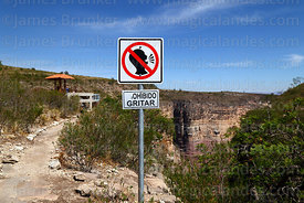 No shouting sign near viewpoint in Torotoro Canyon, Torotoro National Park, Bolivia
