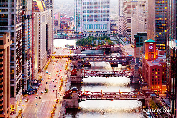 CHICAGO RIVER AND BRIDGES EVENING COLOR