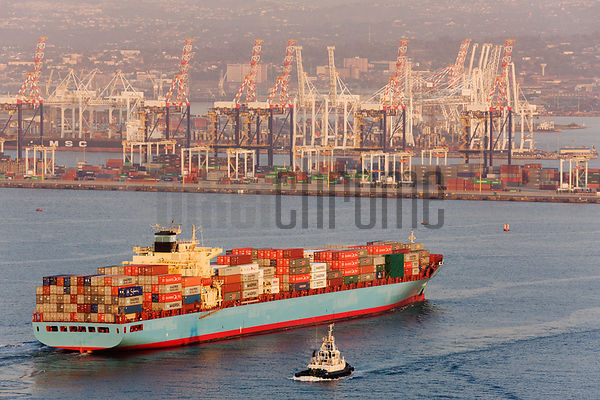 Container Ship Entering Harbor