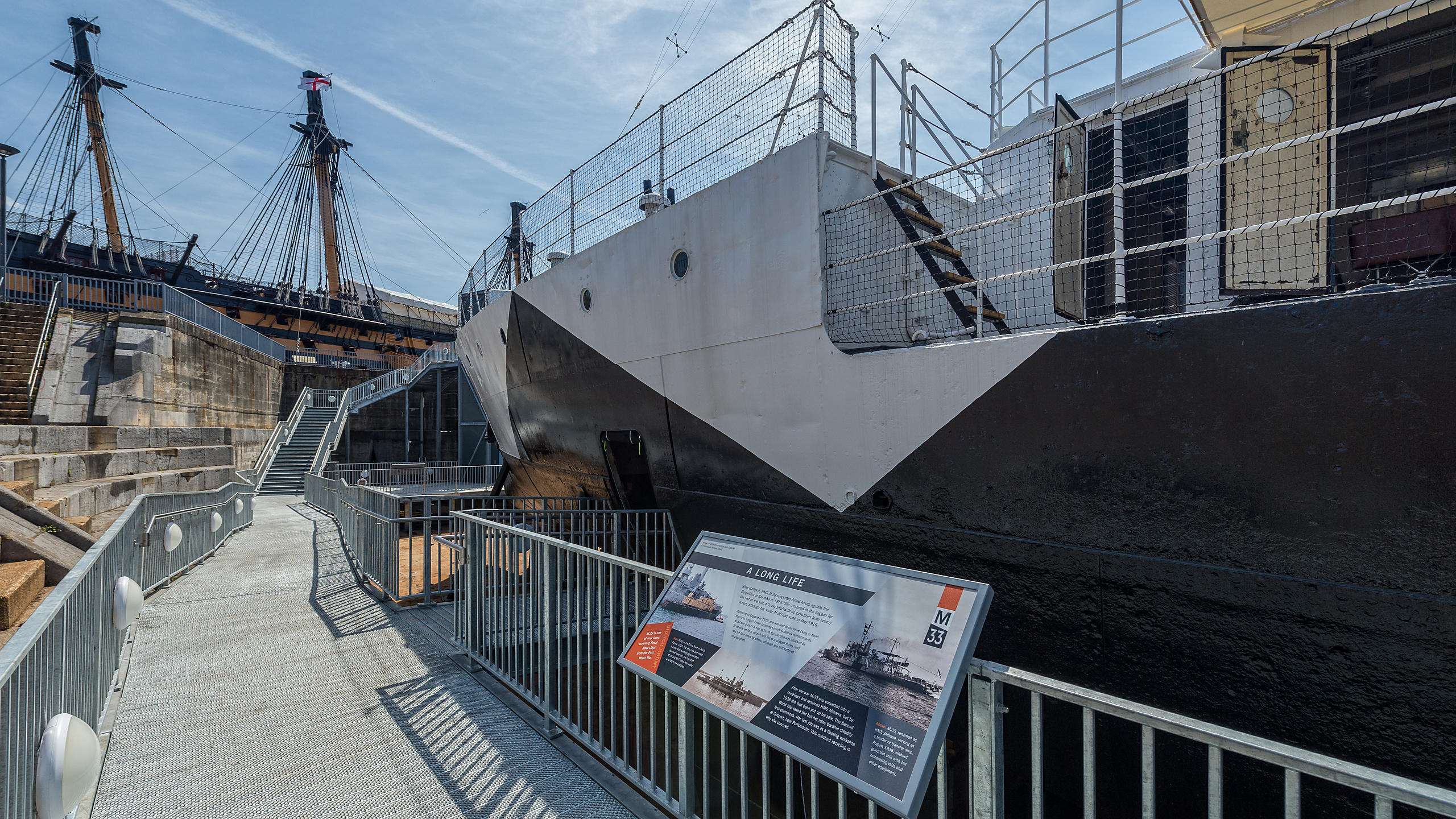 M33 battleship in display at Portsmouth Historic Dockyard