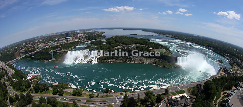Fish-eye panorama of the Niagara Falls (American Falls - left - and Canadian Horseshoe Falls - right) from the Skylon Tower, ...