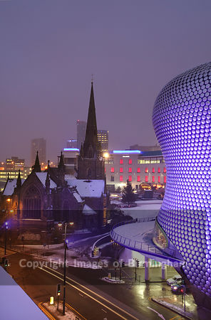 The Selfridges building at the Bullring Shopping centre in Digbeth, Birmingham city centre, during a snow storm. St Martins C...