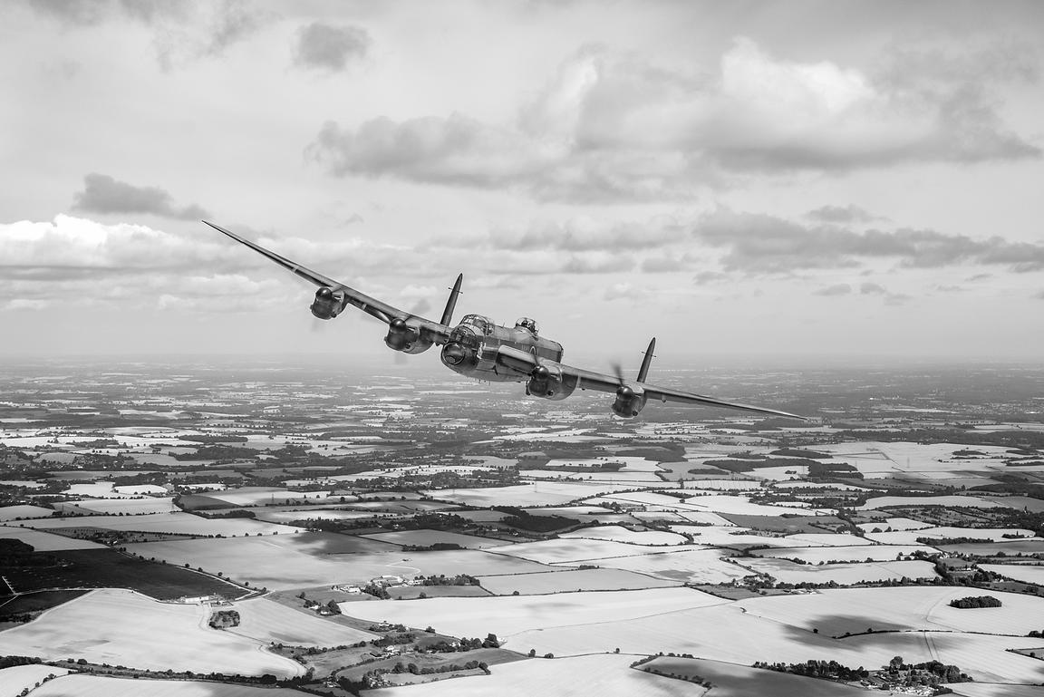Home stretch: Lancaster over England B&W version