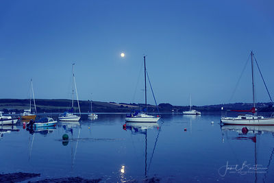 Boats on the River Teifi at Patch by moonlight