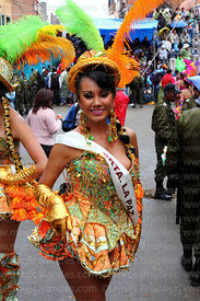 Miss La Paz carnival queen dancing as a Chinita during the Morenada, Oruro Carnival, Bolivia