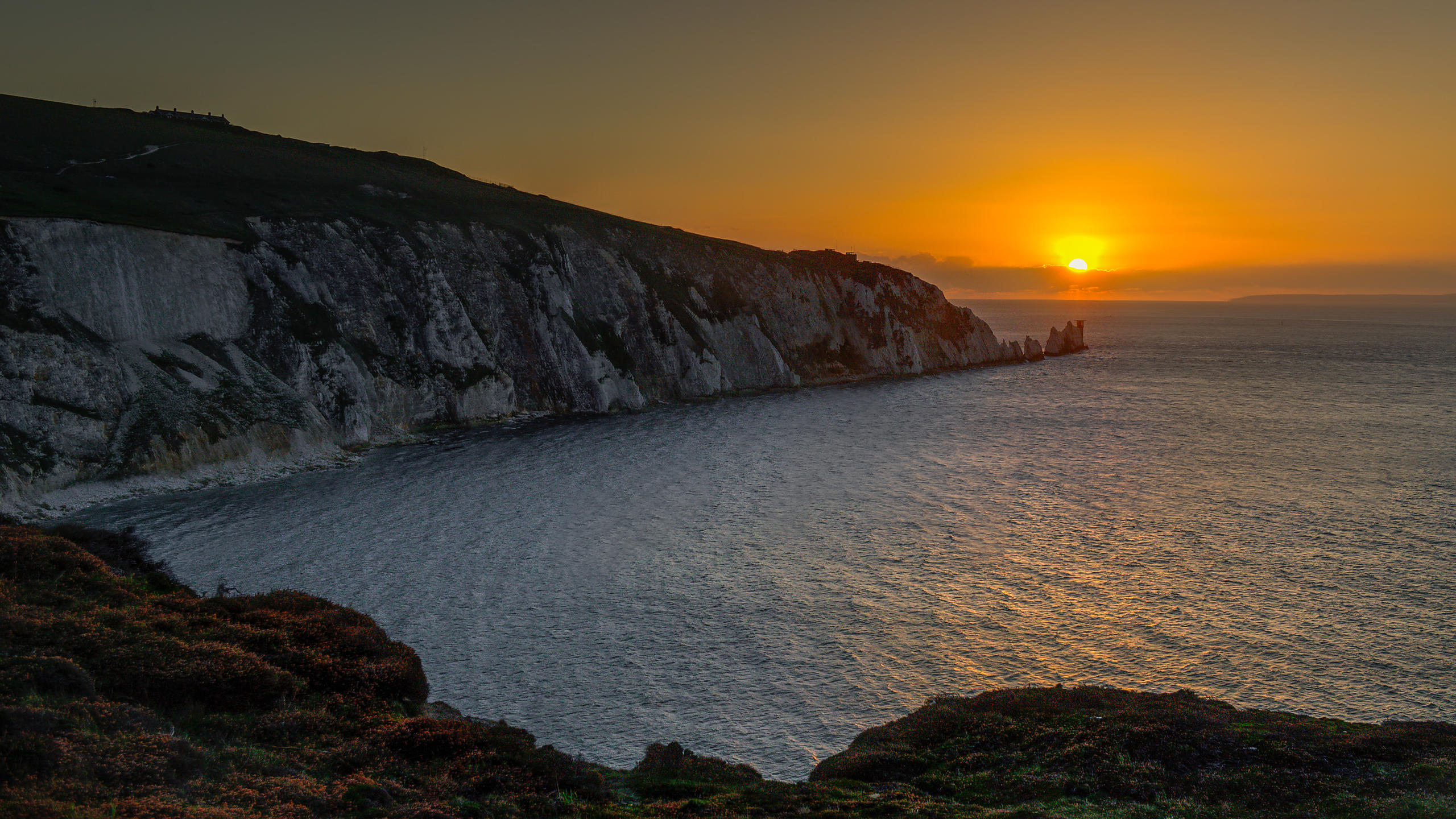 Aerial View of Sunset over The Needles & Alum Bay on the Isle of Wight