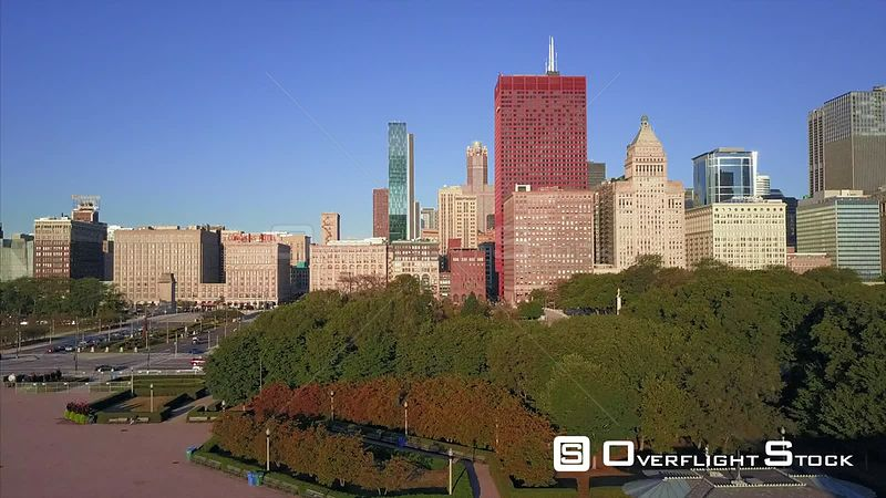 Floral Gardens Drone Video Downtown Chicago Illinois USA