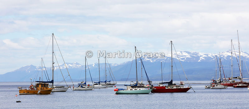 The Beagle Channel, Ushuaia, with sailing boats, Tierra del Fuego, Argentina