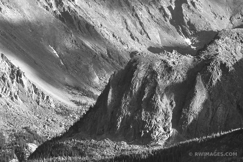 FOREST CANYON AREA ROCKY MOUNTAIN NATIONAL PARK COLORADO BLACK AND WHITE