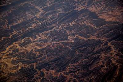 View from plane of Mountains and river channels, Awaran Tehsil, South West Pakistan, December.