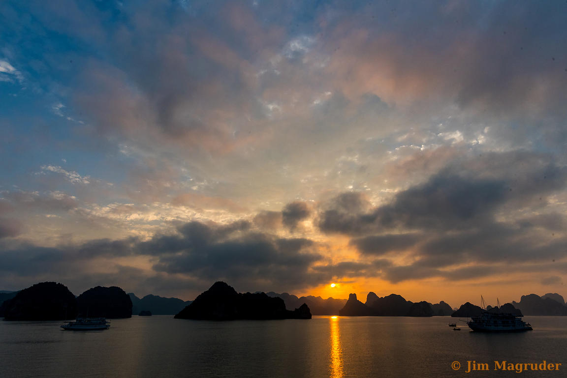 Sunset and Clouds over Ha Long Bay
