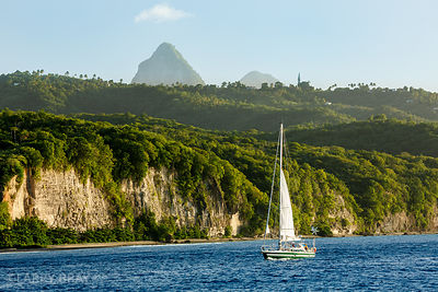 Sailing boat with the Pitons in distance, St Lucia