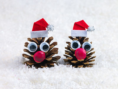 Two face shaped pine cones with santa hats