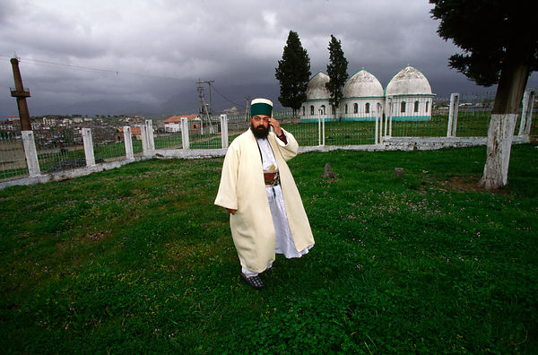 A Bektashi Dervish in the grounds of their orders' house in Tirana Albania. The Bektashi's are an order of Sufi's, Muslim mys...