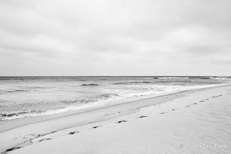 BEACH ATLANTIC OCEAN CAPE COD BLACK AND WHITE