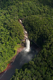 Aerial view of the Ginge Falls on the Echerak River.rainforest, Guyana, December 2009