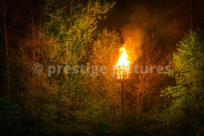 VE Day Beacon Illuminating the nearby Trees