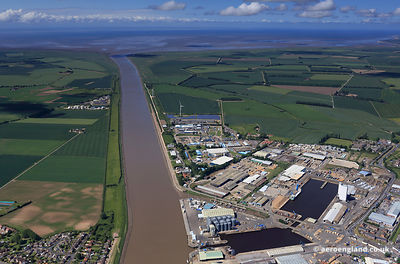 aerial photograph of King's Lynn  docks Norfolk UK