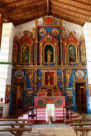 Painted wooden altar inside Jesuit Mission church, San Ignacio de Moxos, Beni, Bolivia