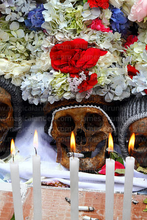Skulls with floral crowns and burning candle offerings at Ñatitas festival, La Paz, Bolivia