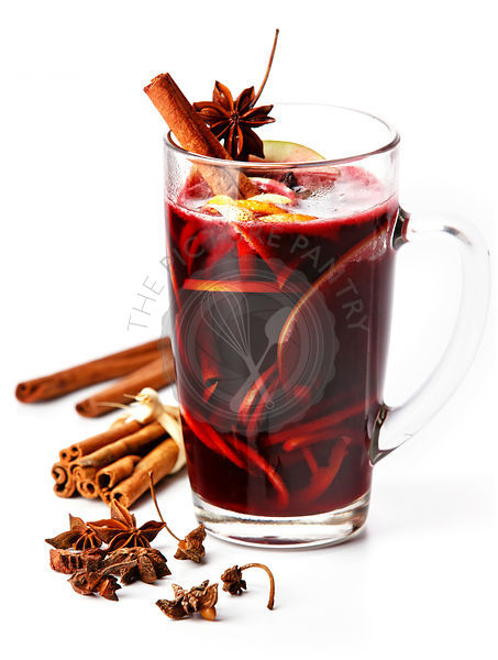 Cup of hot wine with spices on white background