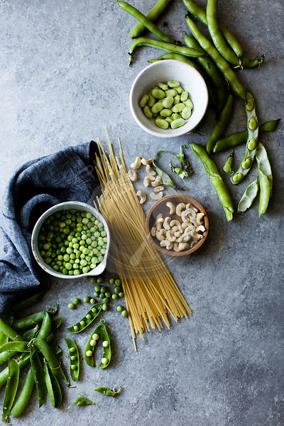 Ingredients for spring vegetable pasta