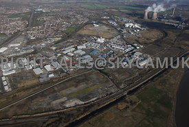 Widnes high level aerial photograph of old Industrial disused land between the St Helens Canal and Moss Bank road looking tow...