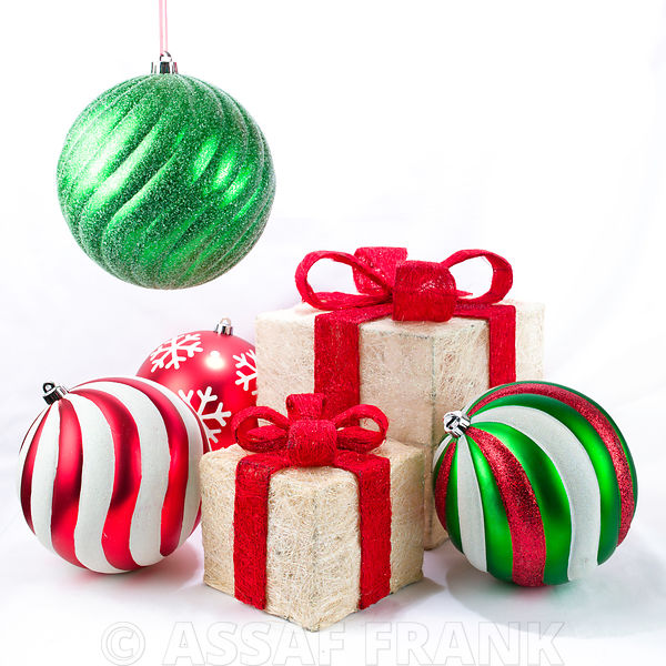 Christmas baubles and gift boxes