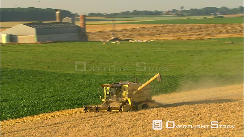 Reaper combine cutting a golden field in Walloon Brabant, Belgium