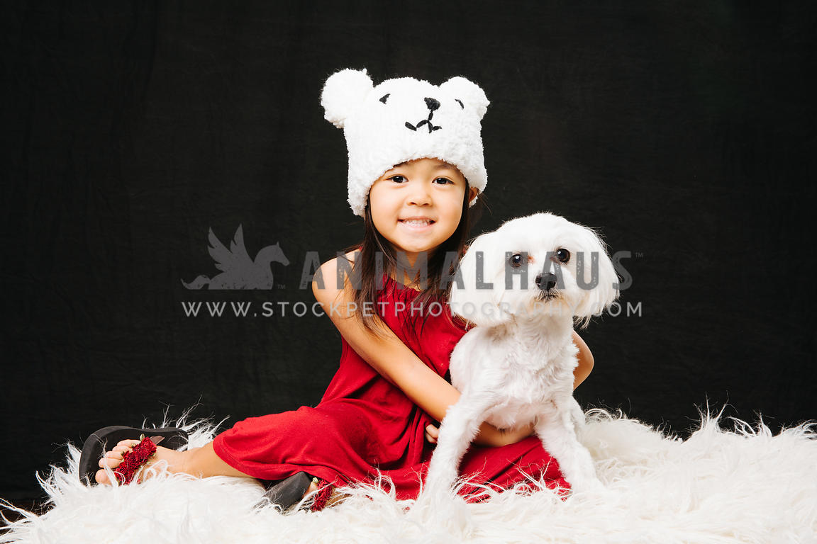 Young girl with dog in studio portrait.