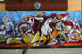 Unfinished mural of El Moto Méndez at the Battle of La Tablada on wall of college, Tarija, Bolivia