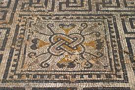 Floor Mosaic in house, Volubilis, Morocco; Landscape