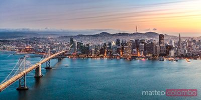 Aerial panorama of Bay bridge and downtown, San Francisco, USA