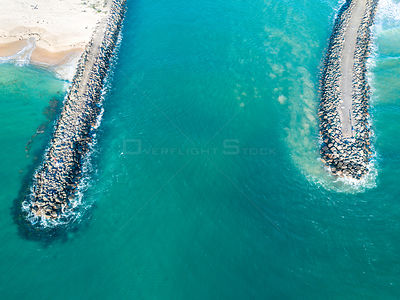 The breakwall groynes and entrance to Lake Illawarra on the south coast near Wollongong. NSW Australia