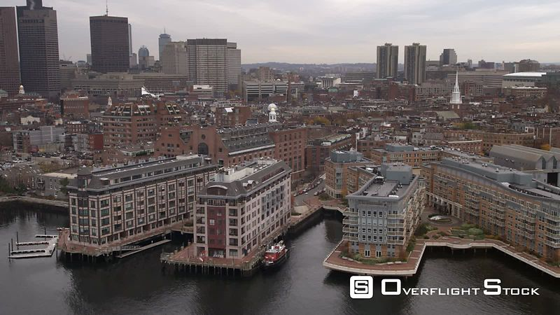 Aerial shot of buildings along Boston Harbor from Fairmont Battery Wharf to Harbor Towers.