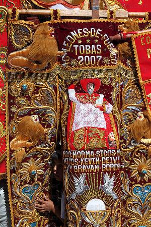 Detail of embroidered banners at Corpus Christi festival , Cusco , Peru