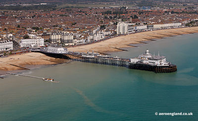 aerial photograph of Eastbourne Pier East Sussex England UK.