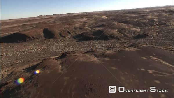 Aerial shot of uneven terrain in the Kalahari Desert Okavango Delta Botswana
