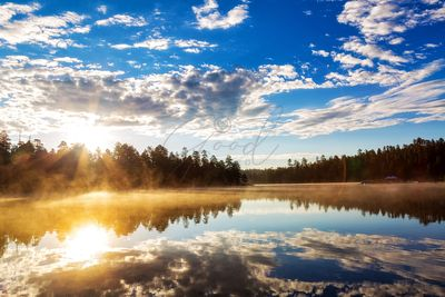 Sunrise Over Misty Lake in Payson Arizona