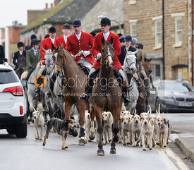 The Cottesmore hounds in Oakham on Boxing Day