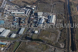 Widnes aerial photograph of the Saffil Ltd site Sullivan road and old disused Industrial waste land between the St Helens Can...