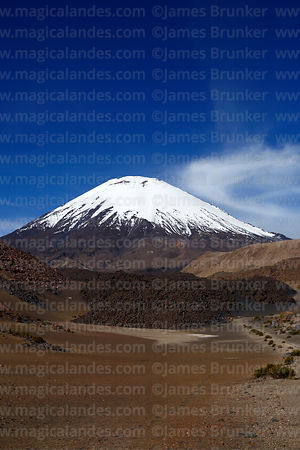 Lava flow and Parinacota volcano, Lauca National Park, Region XV, Chile