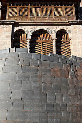 Santo Domingo church, built above the Inca wall of the Coricancha / Sun Temple, Cusco, Peru